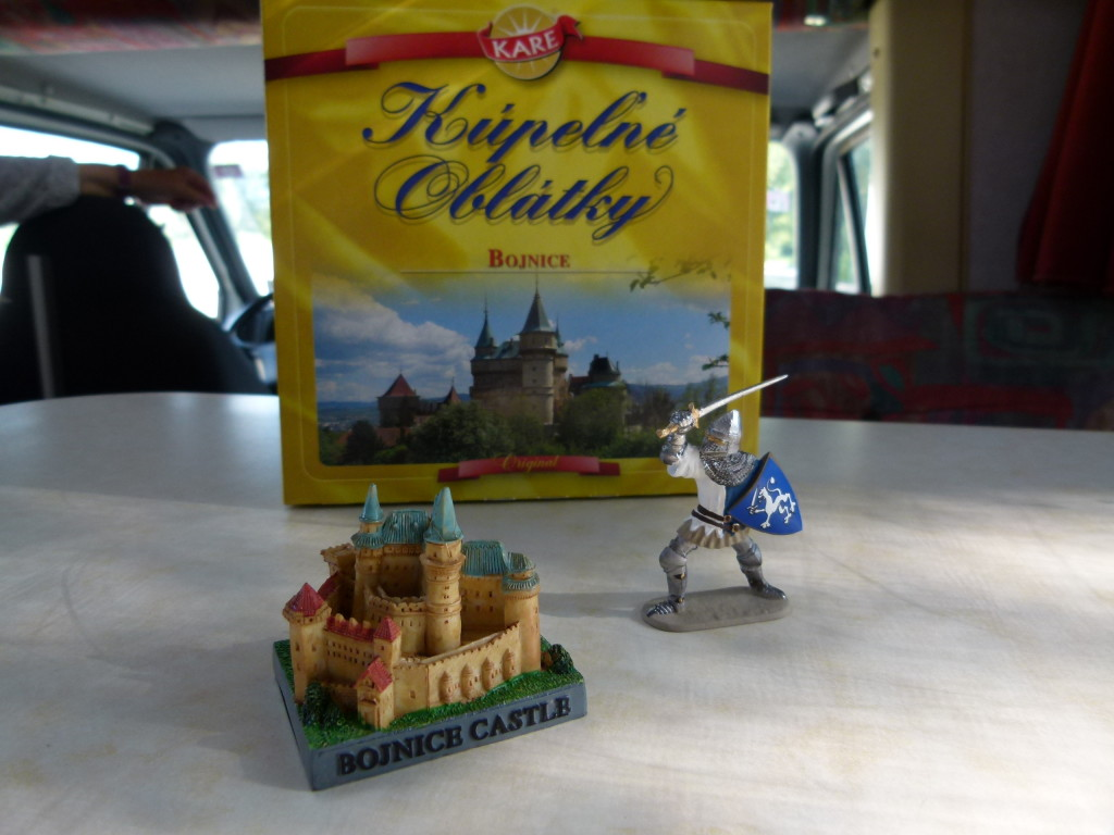We spent big today , buying a castle and knight for the dashboard and some wafer biscuits.