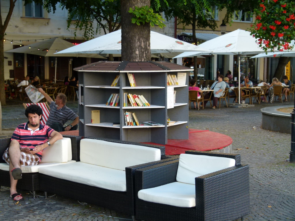 This is an outside library at one of the squares. We spent some time on this couch while waiting for the walking tour on tuesday.