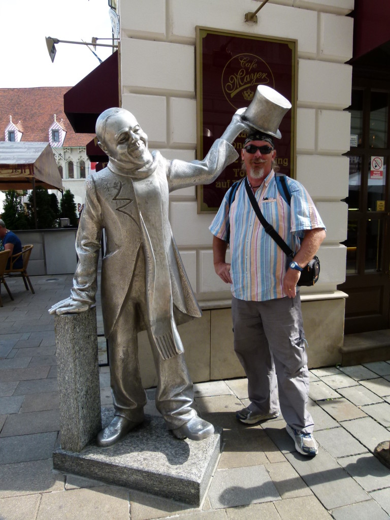 Here is Ewout with the statue of Schone Naci he was a man who was a fixture of Bratislava and was always friendly to people.