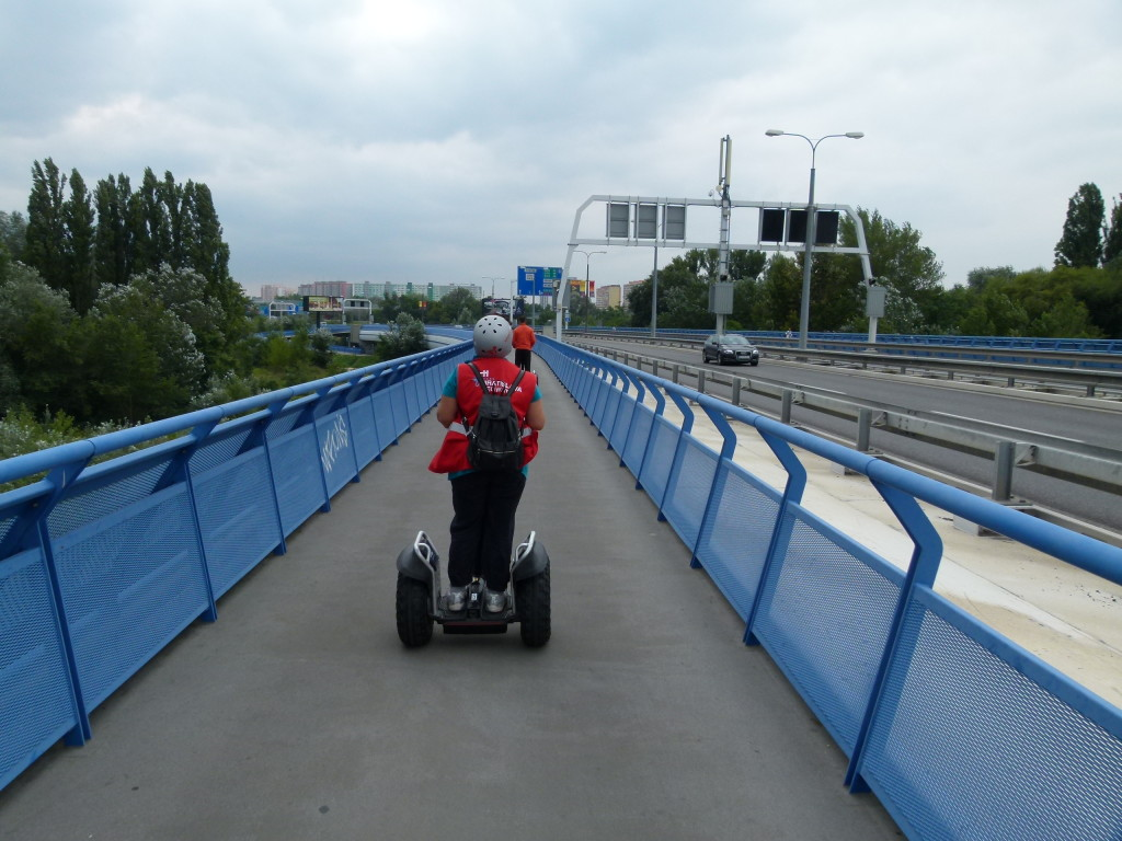 Crossing the river Danube on the bridge.