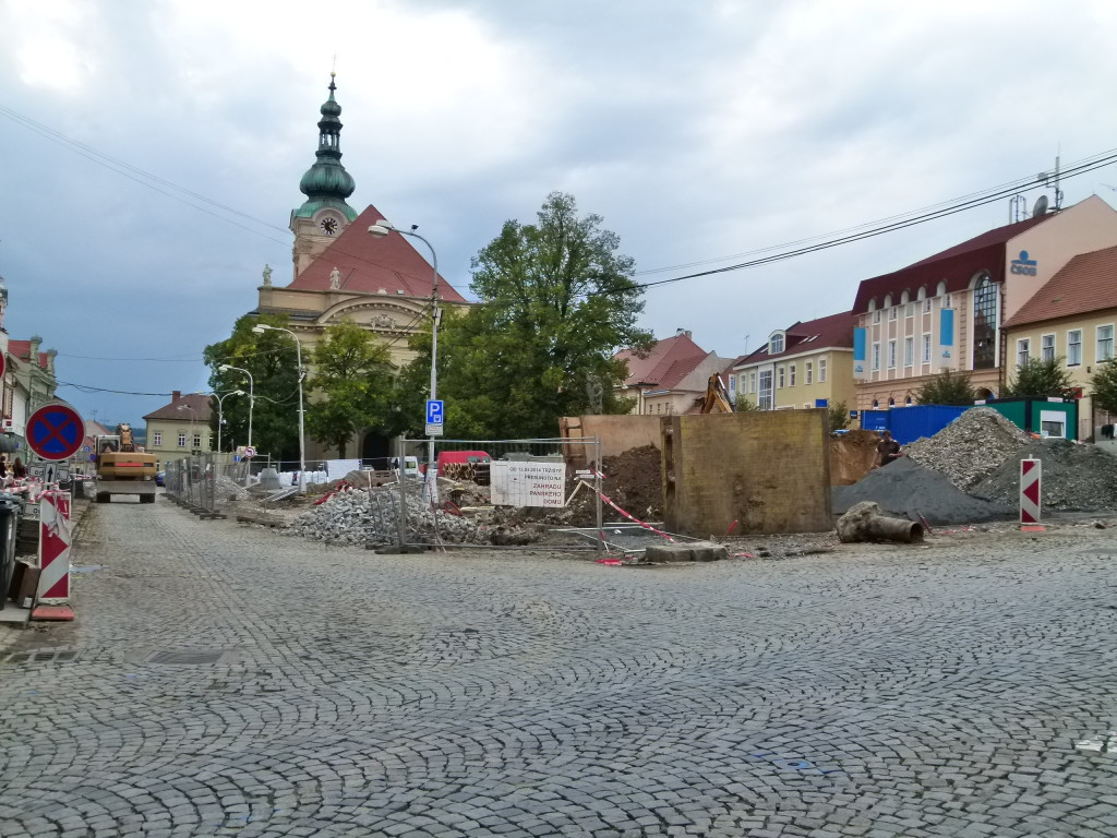 Uhersky Brod, centre of town. We have found a lot of towns are doing major upgrades. Will be nice when its finished.