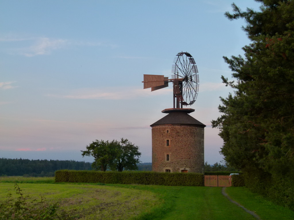 Unusual windmill in the countryside of Czech Republic.