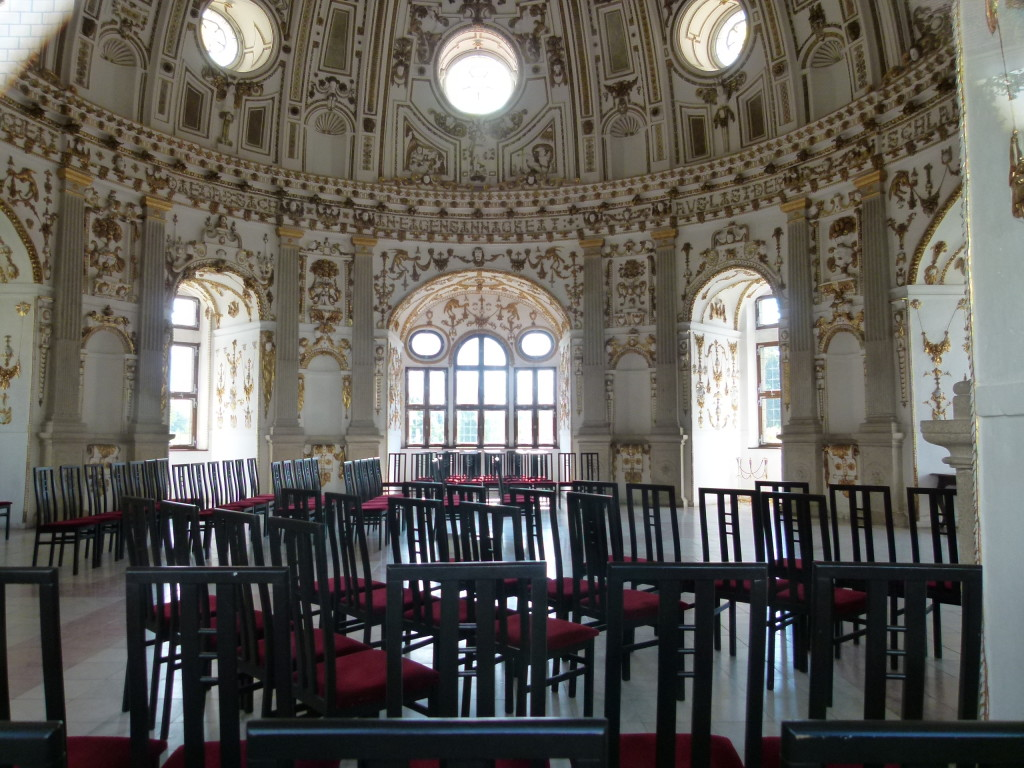 photo through the window, inside the chapel, used for concerts and weddings