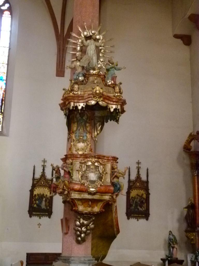 Inside the Tabor Church, very ornate