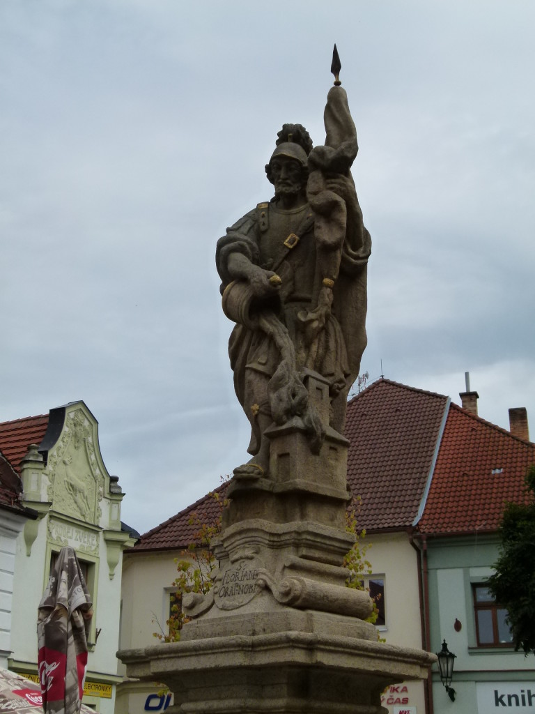 Statue of St. Florian. He is the patron saint of fireman and chimney sweeps.