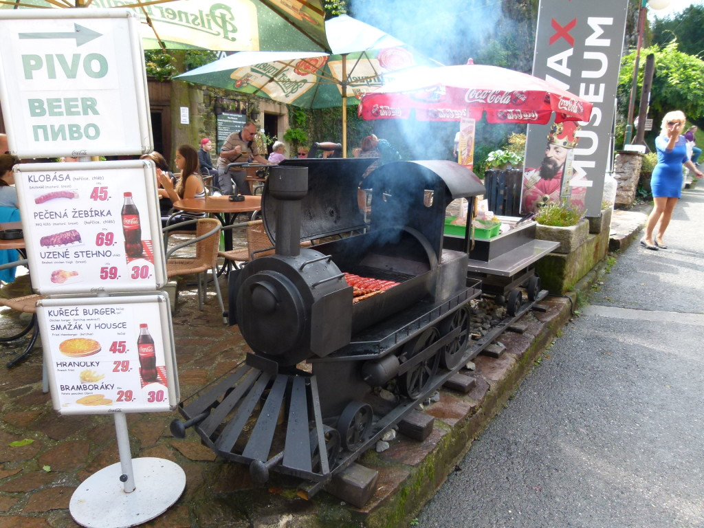 This was a train barbeque at one of the many eateries near the castle.