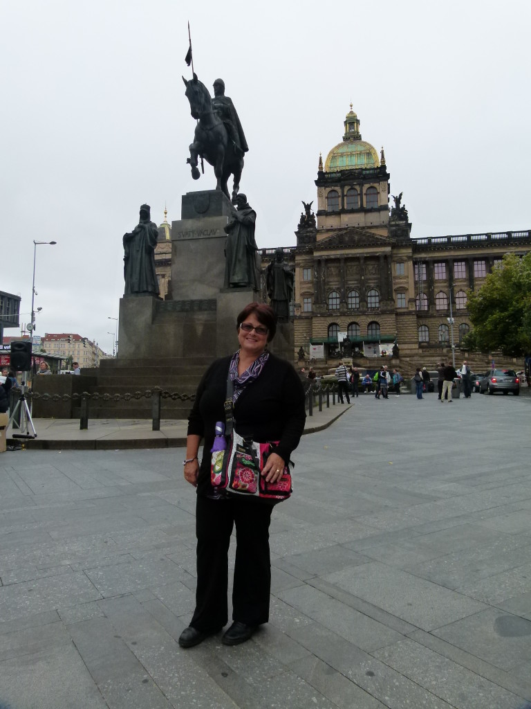 Jenny in Wenceslas square in front of another statue of King Wenceslas