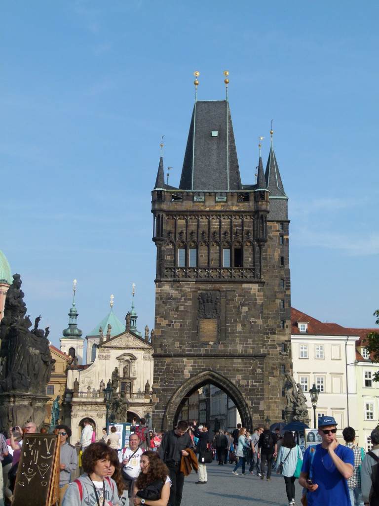 The Charles bridge, it is always busy with tourists and souvenir sellers