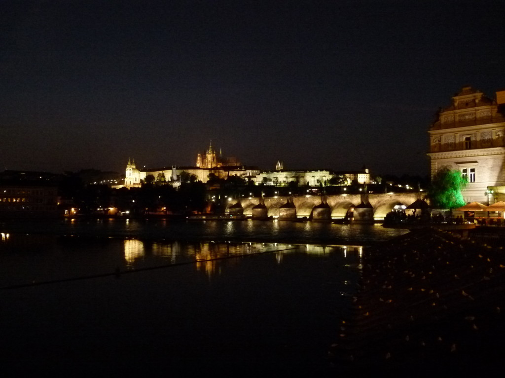 Night view of the bridge and Castle district, Prague