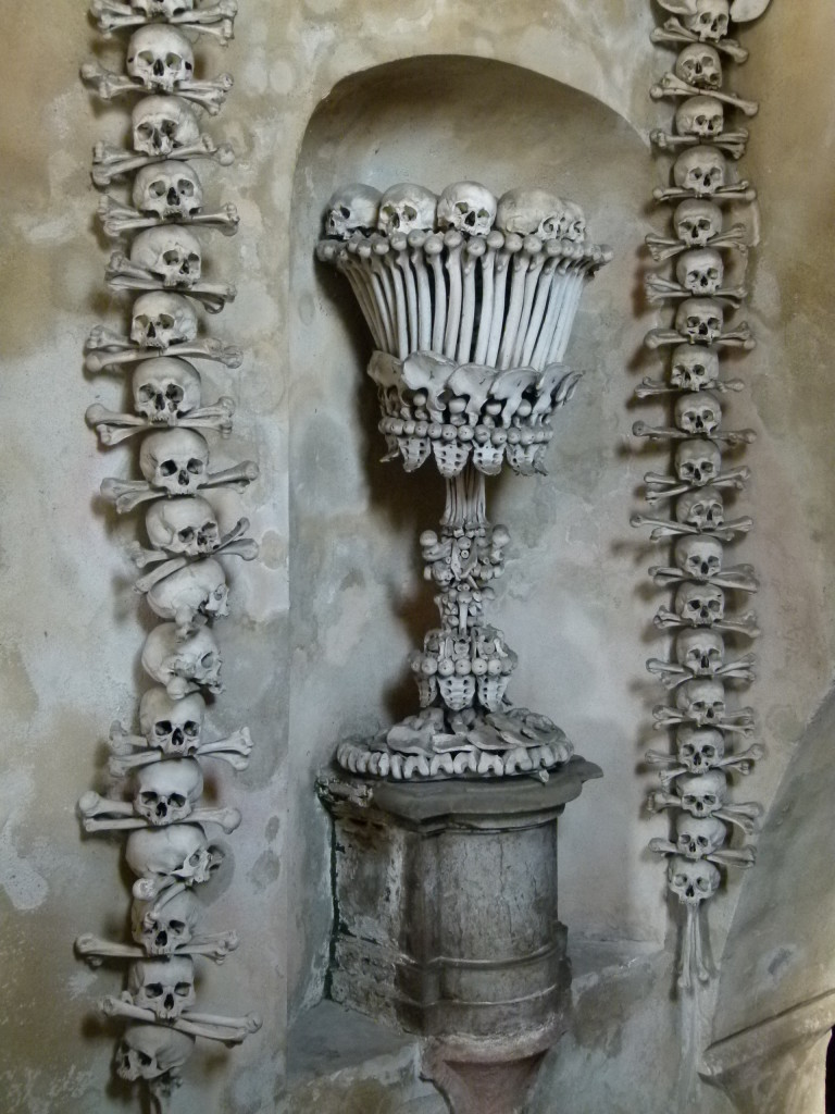 All the walls were decorated using human bones.