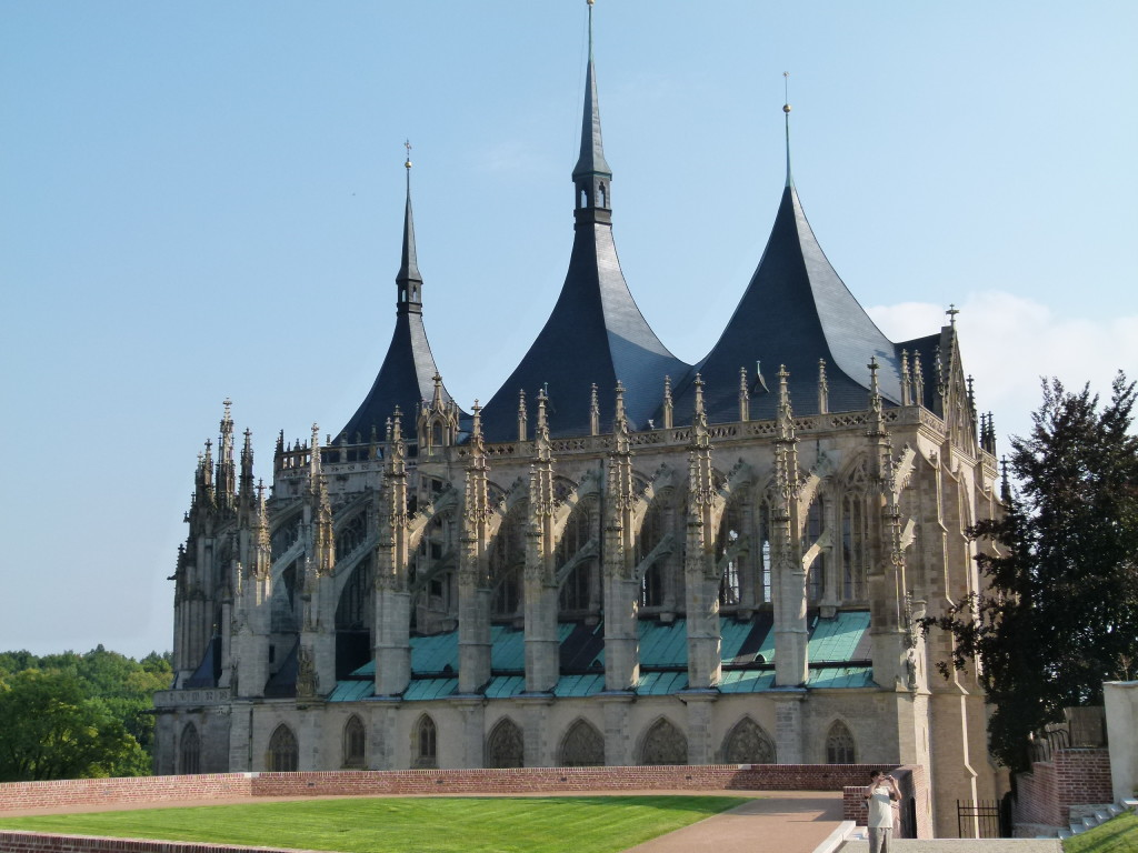The Cathedral of St. Barbara,Kutna Hora, the view from the side. The roof line is very different to most cathedrals.