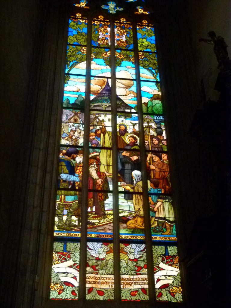 There we many stained glass windows, very well done.