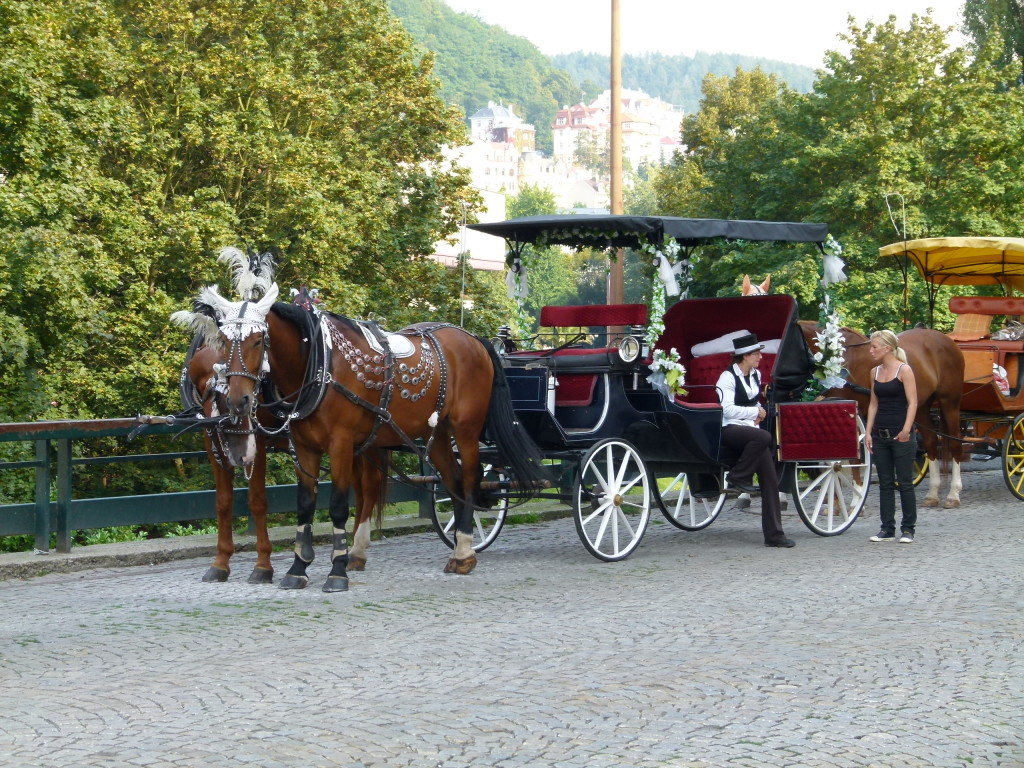 Karlovy Vary, many carriages beautifully decorated