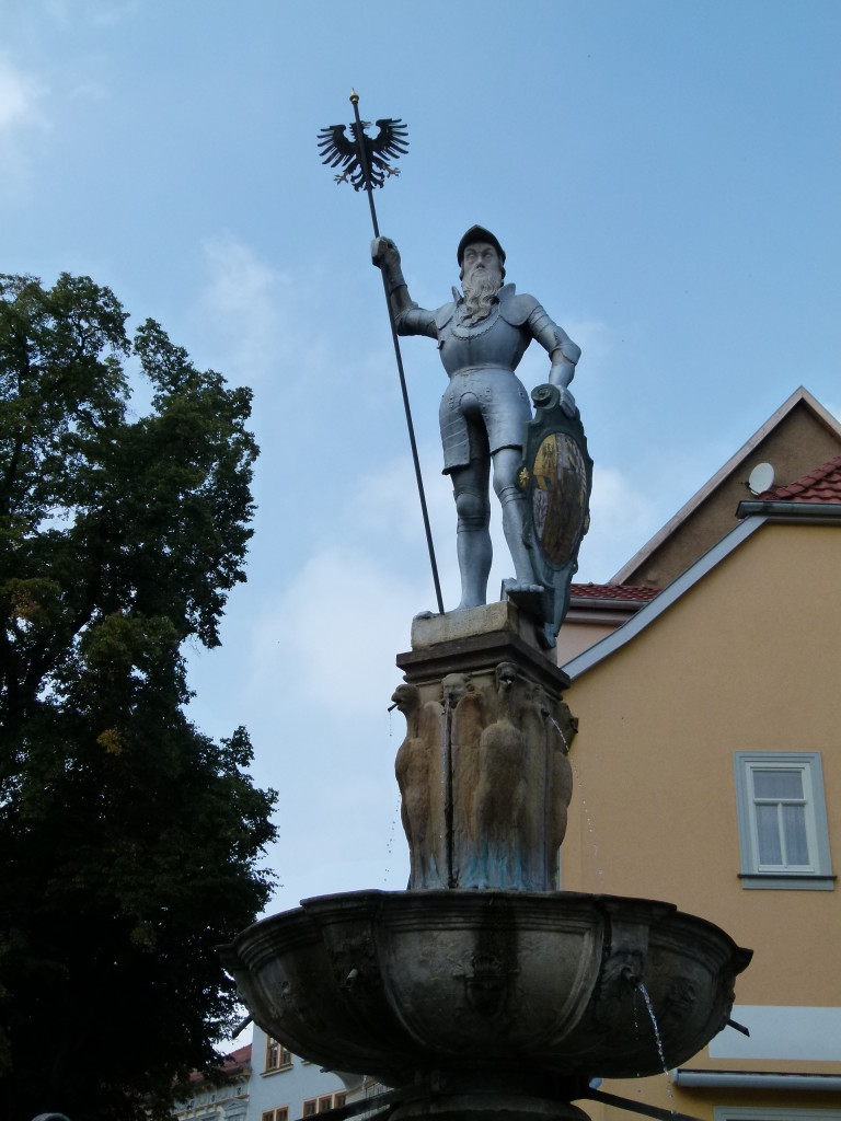 Interesting statue above the fountain in Arnstadt