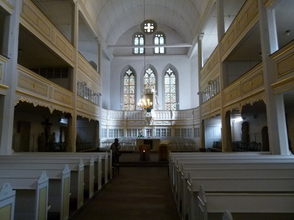 Inside the Bach church, very different from many we have seen