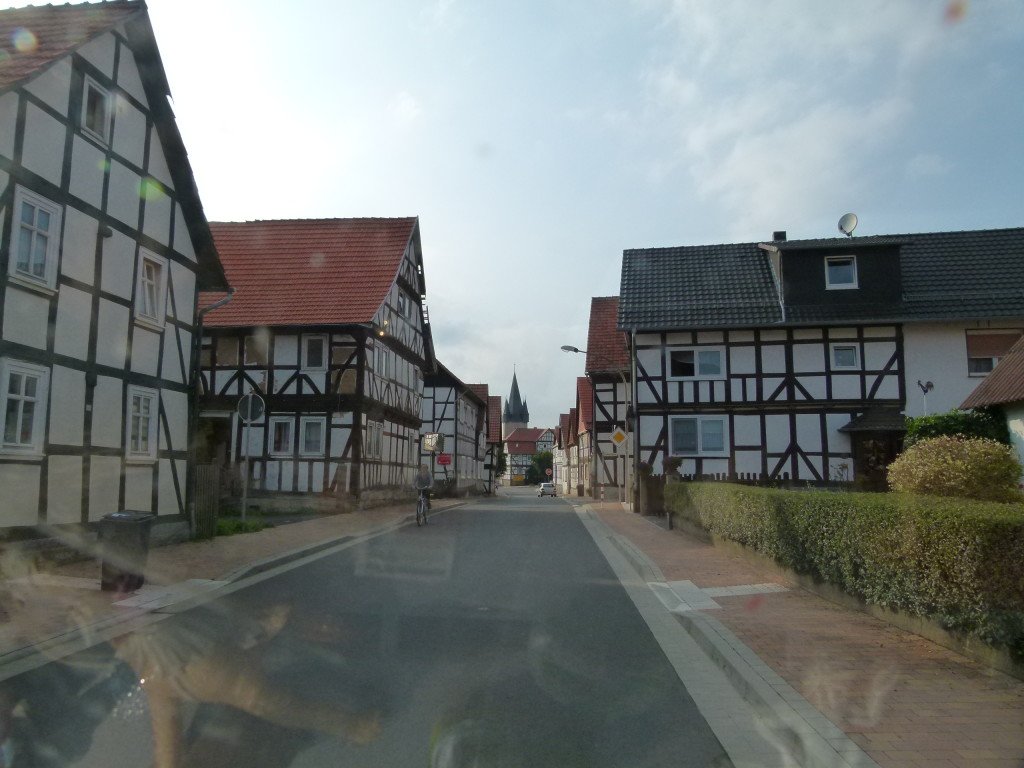 driving through one of the many villages in Germany