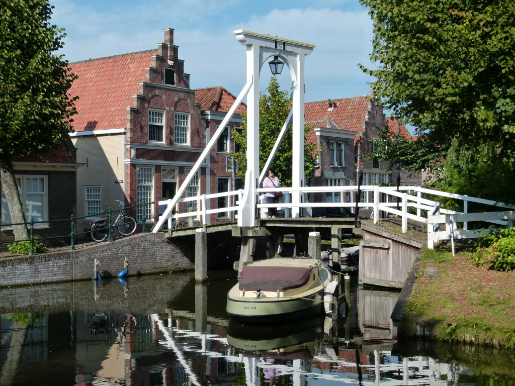 Jenny standing on the bridge at Monnickendam. The date on the the bridge was 1369.