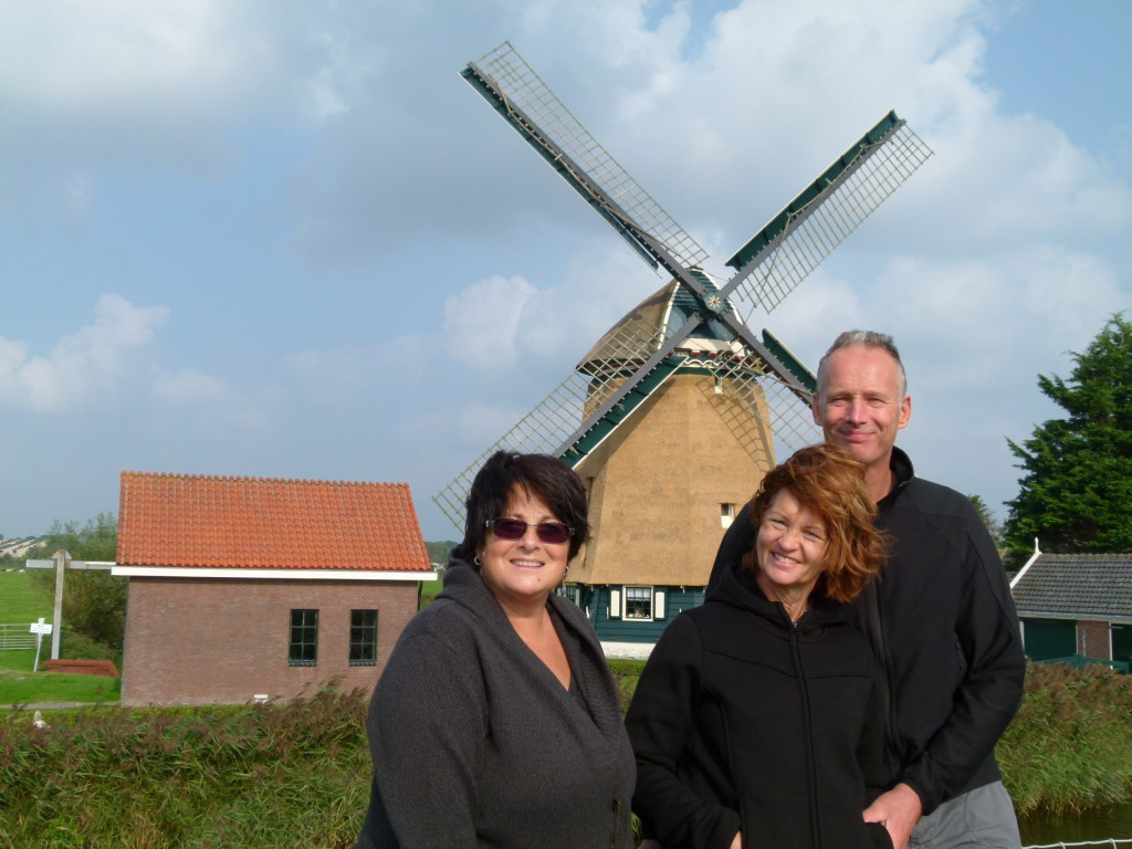 Gaby ,Renko and Jenny next to the windmill near to the village.