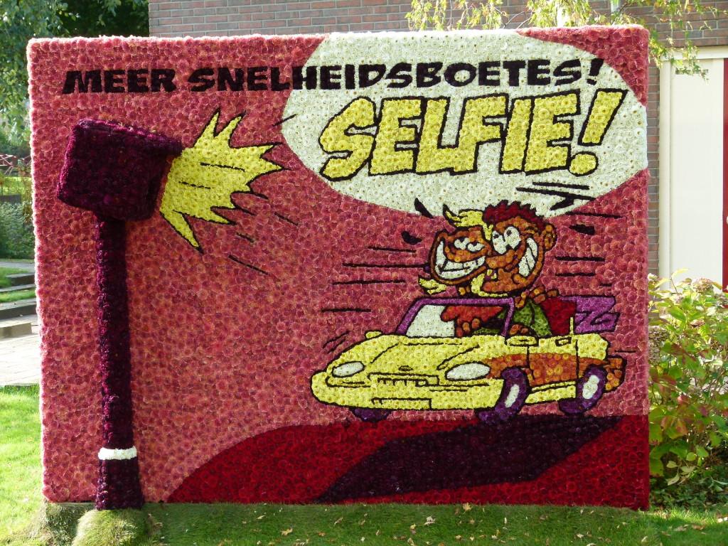 A selfie speed camera flower display.