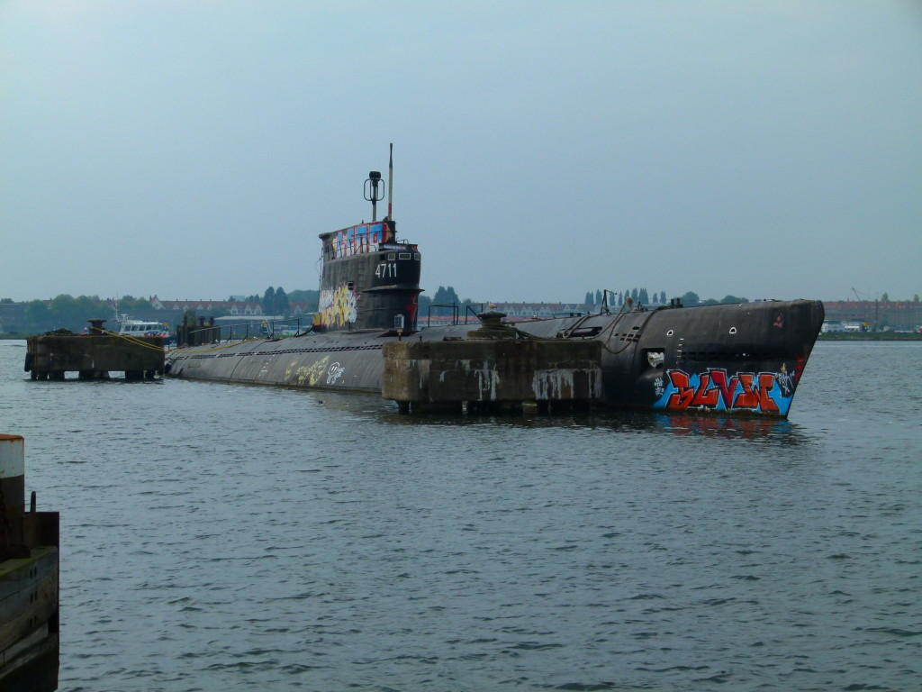 Old submarine in the water near the Ferry landing