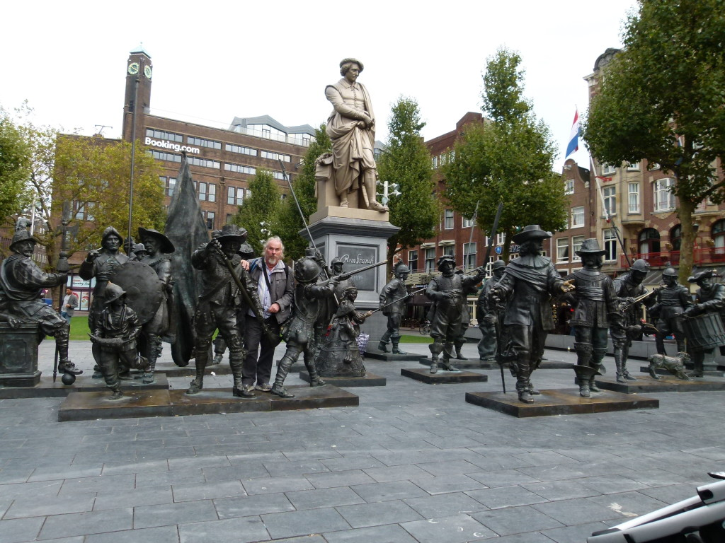 Rembrandt square with an interesting statue installation of the Nightwatch.