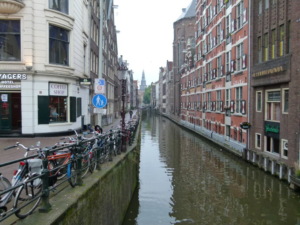 Amsterdam canal, one of the narrowest