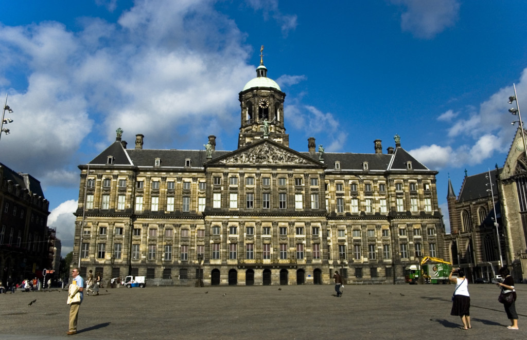 Royal Palace at the dam square in Amsterdam