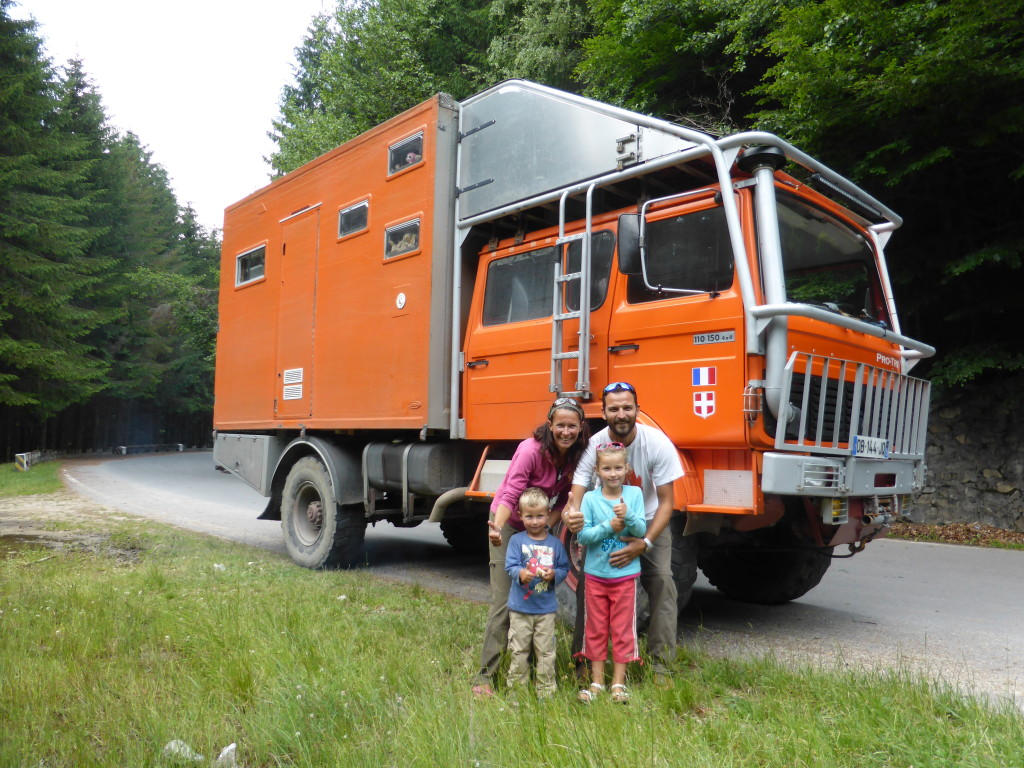 We met Aurelle, Charles and their children Anthony and Lou-Ann on the Transfargarasan Road in Romania. They plan to travel in South America later in 2015. The truck is a 1980 Renault that used to be a Firetruck. They converted it themselves.