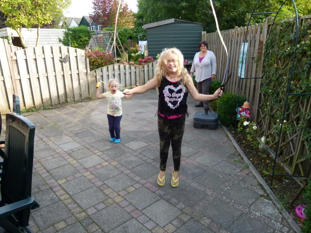 Nienke and Jana in their backyard.
