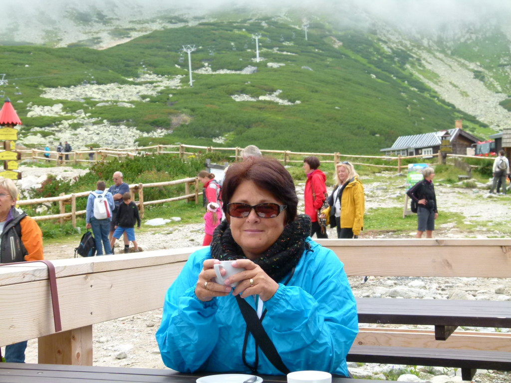 The High Tatra Mountains in Slovakia. It was cold and Jenny is enjoying a hot coffee.