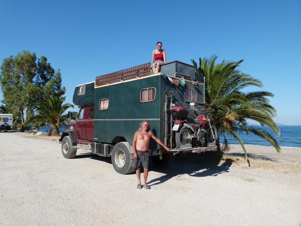 "One of the motorhomes in our new page,""Not your average motorhome"". This photo was taken in Greece and if features a German couple in there converted fire truck, complete with top patio area."