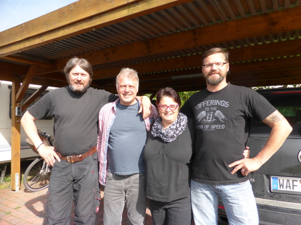 Jenny with Leo, Manfred and Micheal. The Motzki brothers friends since 2009.