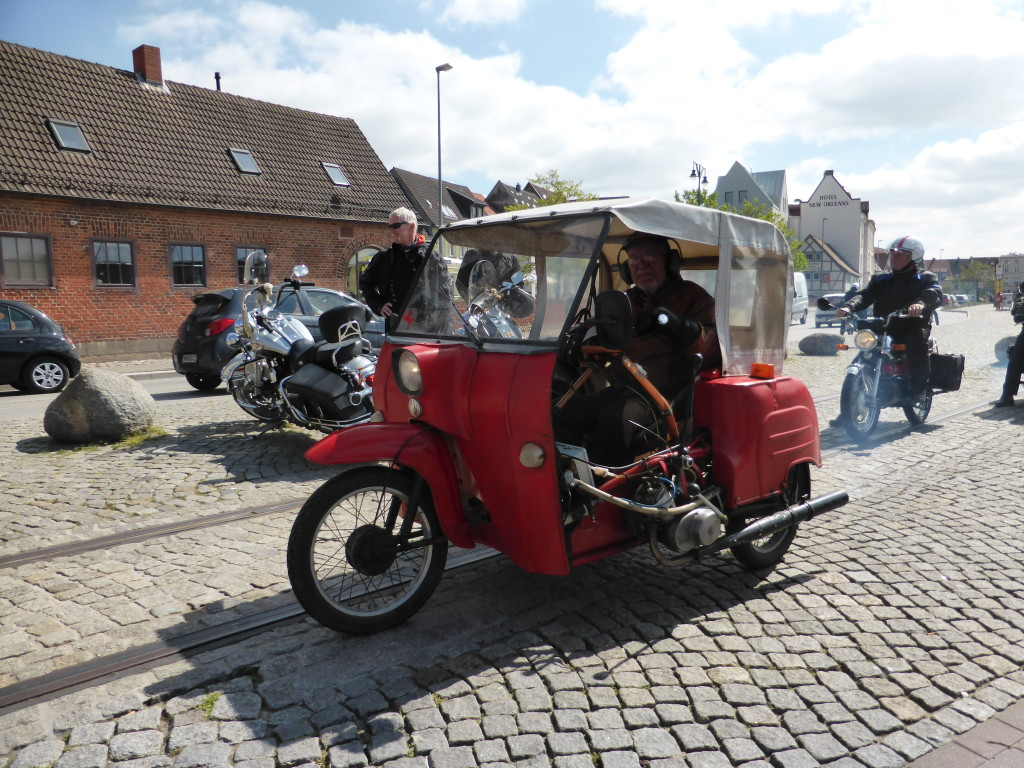 The harbour and streets were very busy in Wismar. There were several of these enclosed old-timer scooters on parade.