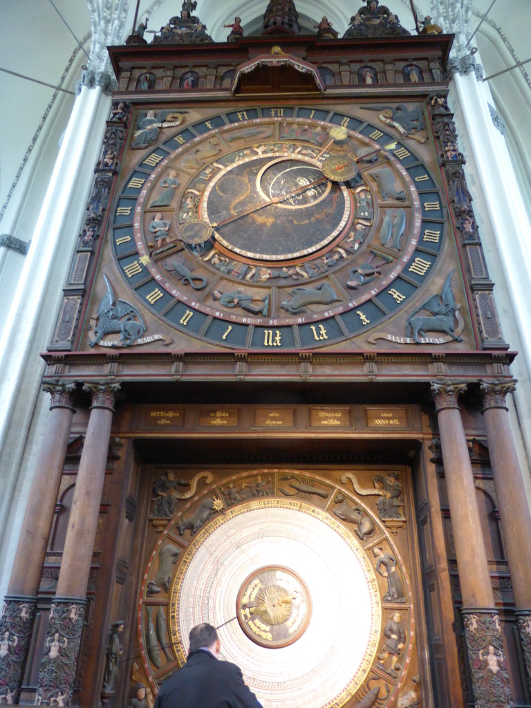 The astrological clock in the old church. Most of the rest inside was covered in scaffolding.