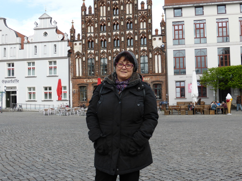 Jenny in the town square all rugged up. Come on the summer!!