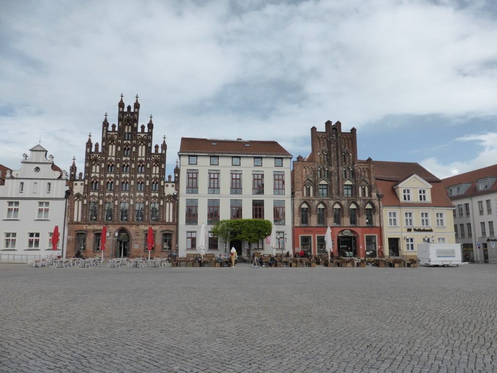 The town square was big and empty as the cold and rain had kept everyone away.