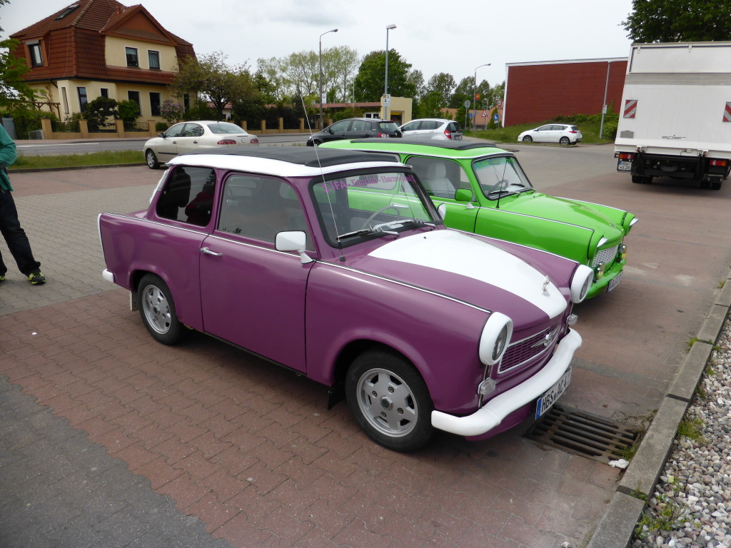 A couple of old Trabant's that have been restored. They may not have got around to restoring the engine as they sounded awful when they stared and drove off.