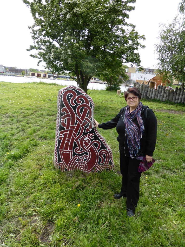 Jenny and a rune stone.