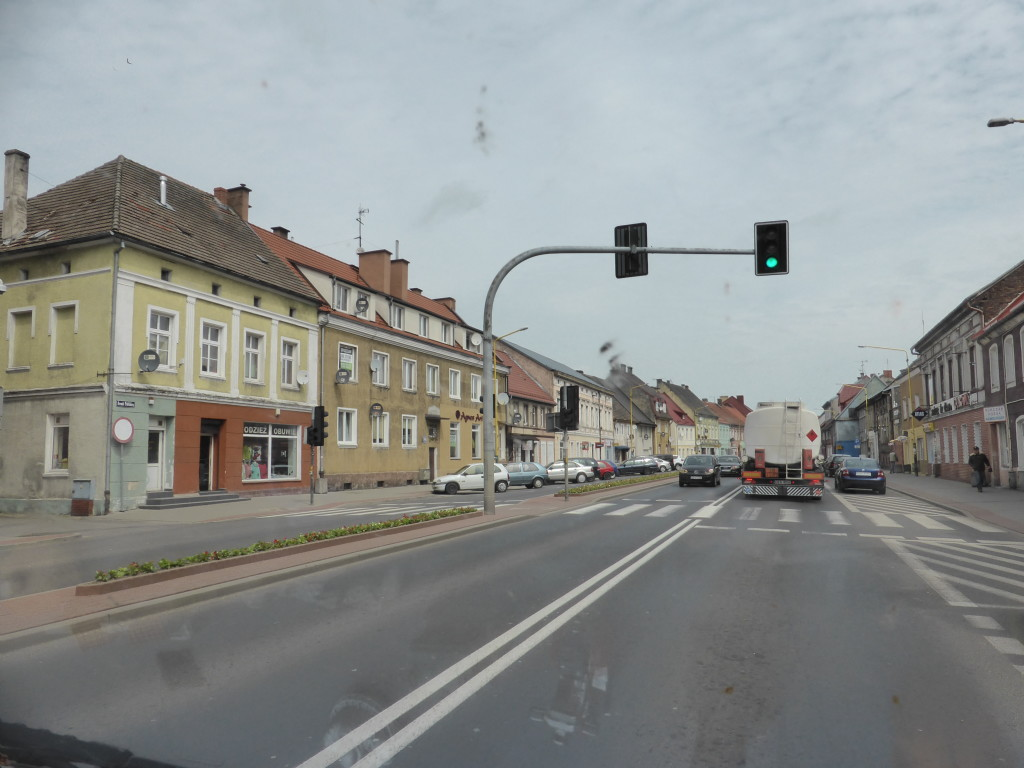 Driving through Poland, one of the towns we went through. The roads are not really very busy and the driving is easy. Some of the roads are a bit bumpy.