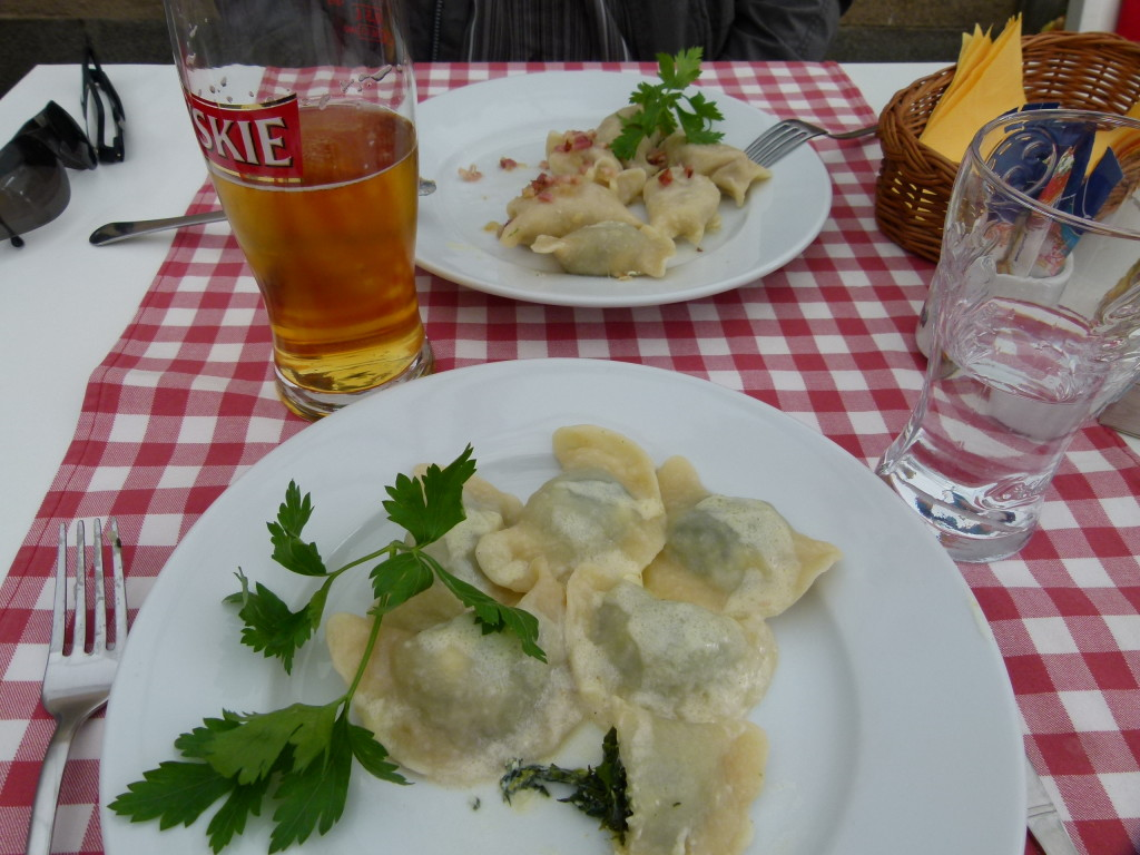 Pierogi for lunch. Traditional Polish food.