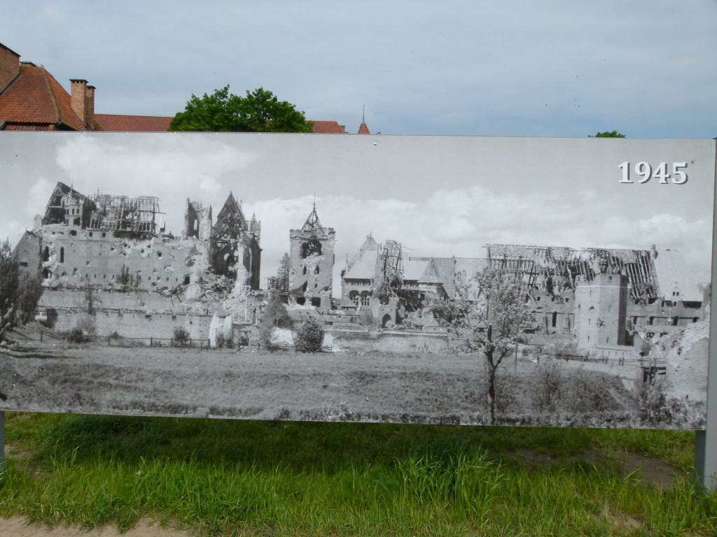 A picture of the castle after World War 2 , since then it had been restored.