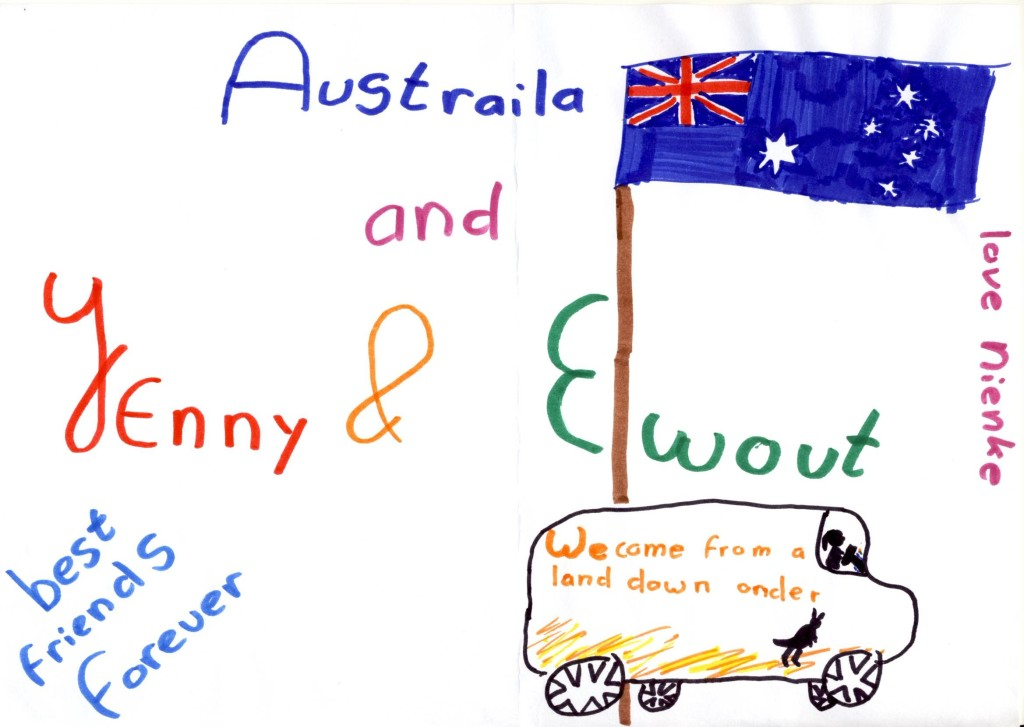 Nienke's drawing of us on our travels.