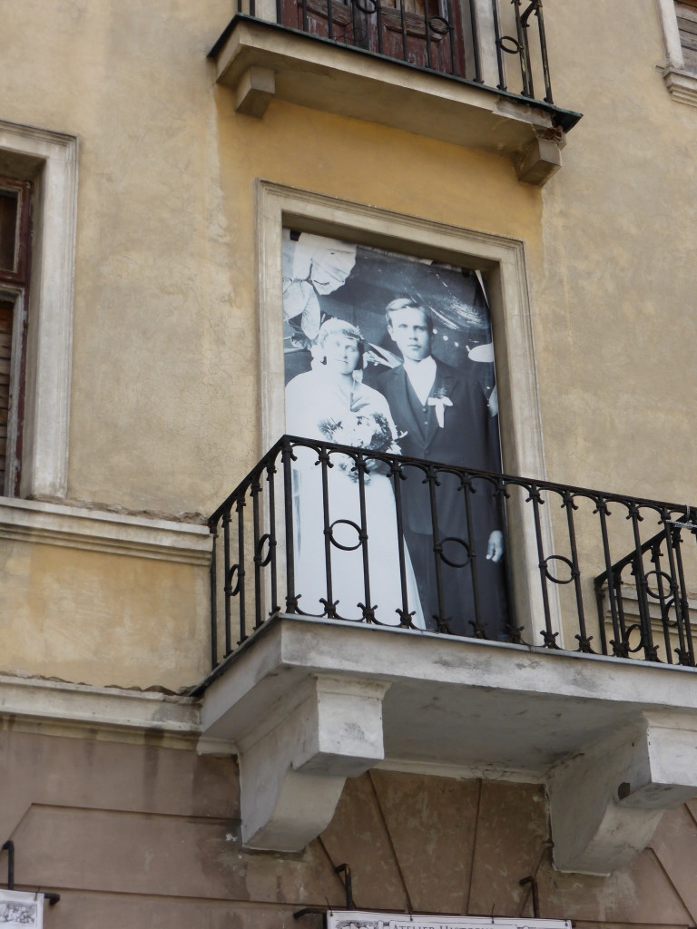 On many windows in town there were photos of couples. Not sure what the significance was.