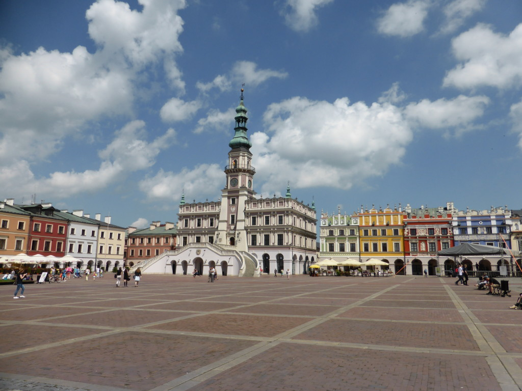The town hall and main square of Zamosc.