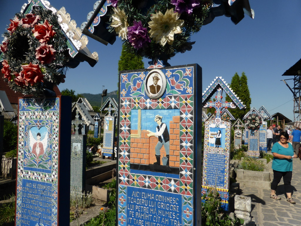 The Merry Cemetery. Each headstone is individually carved with a picture of the person.