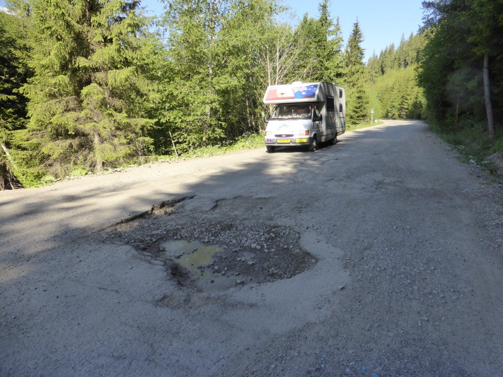 This was an example of the pot holes we face while driving this road.