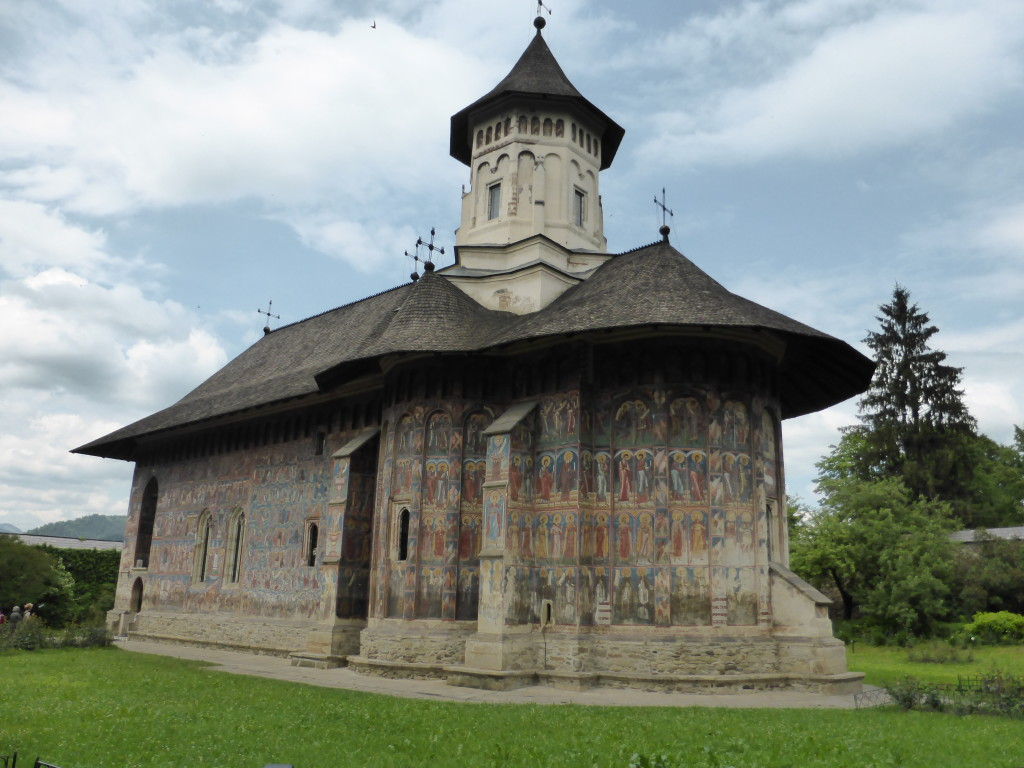 The outside view of the church. Moldovia Monastery was impressive.