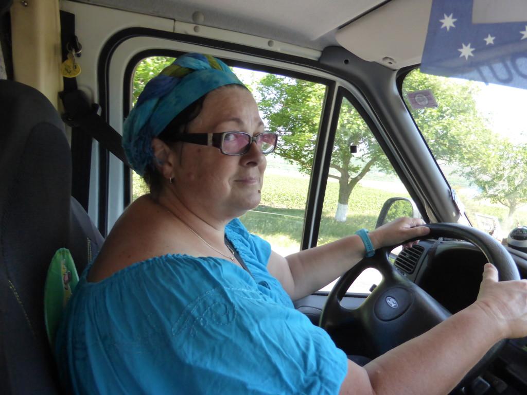 Jenny driving in Moldova.