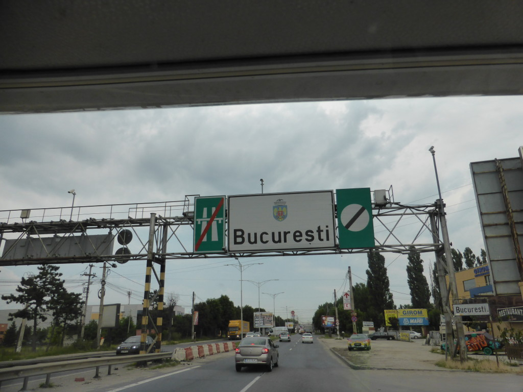 Driving into Bucharest.
