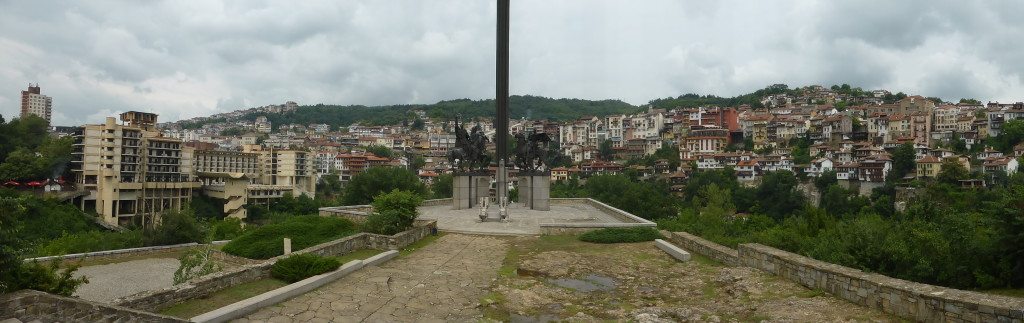 Monument with the town in the background.